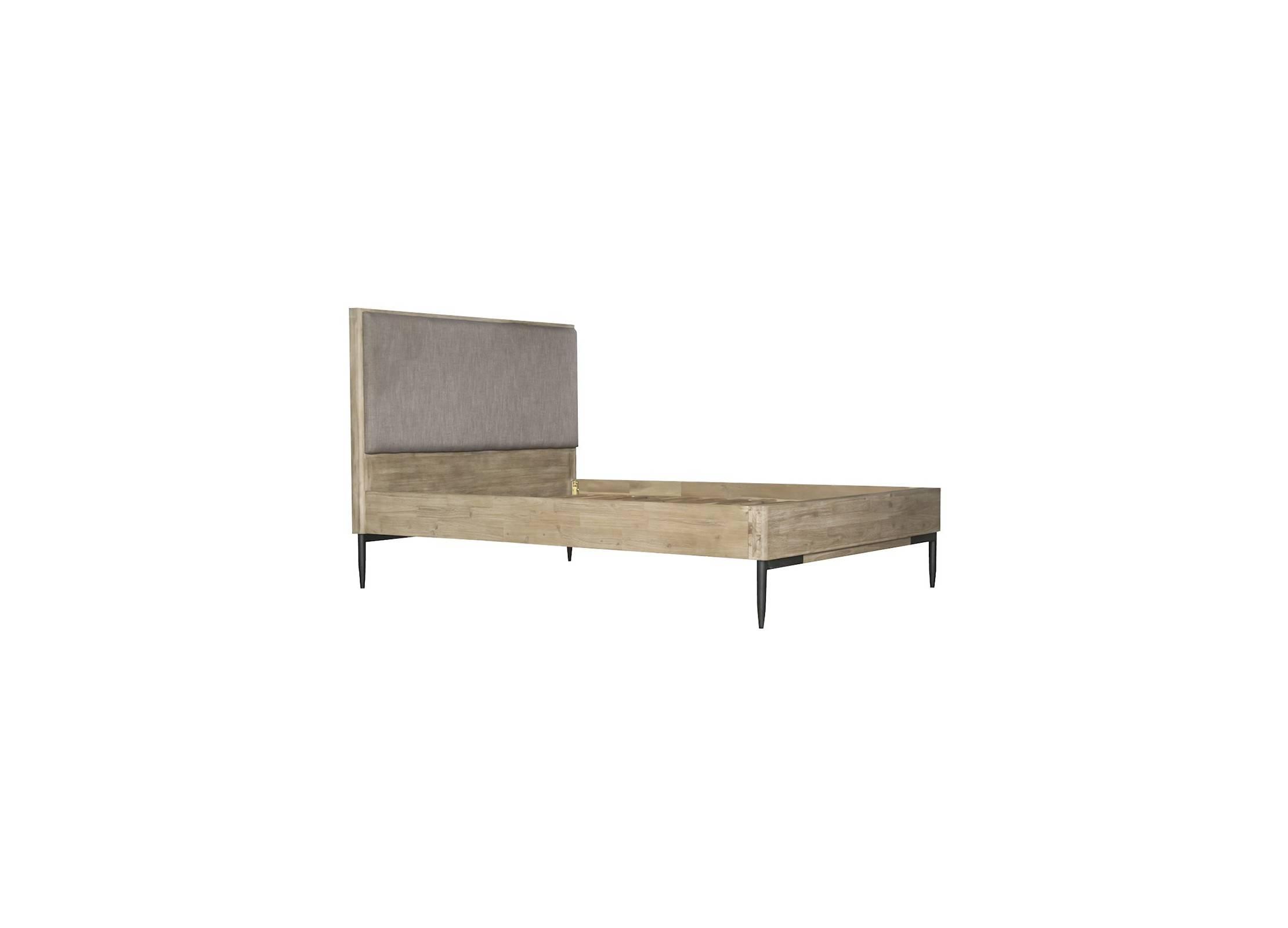 Lit 2 places alba 140 cm bois massif acacia et tissu - Lit 2 places bois ...
