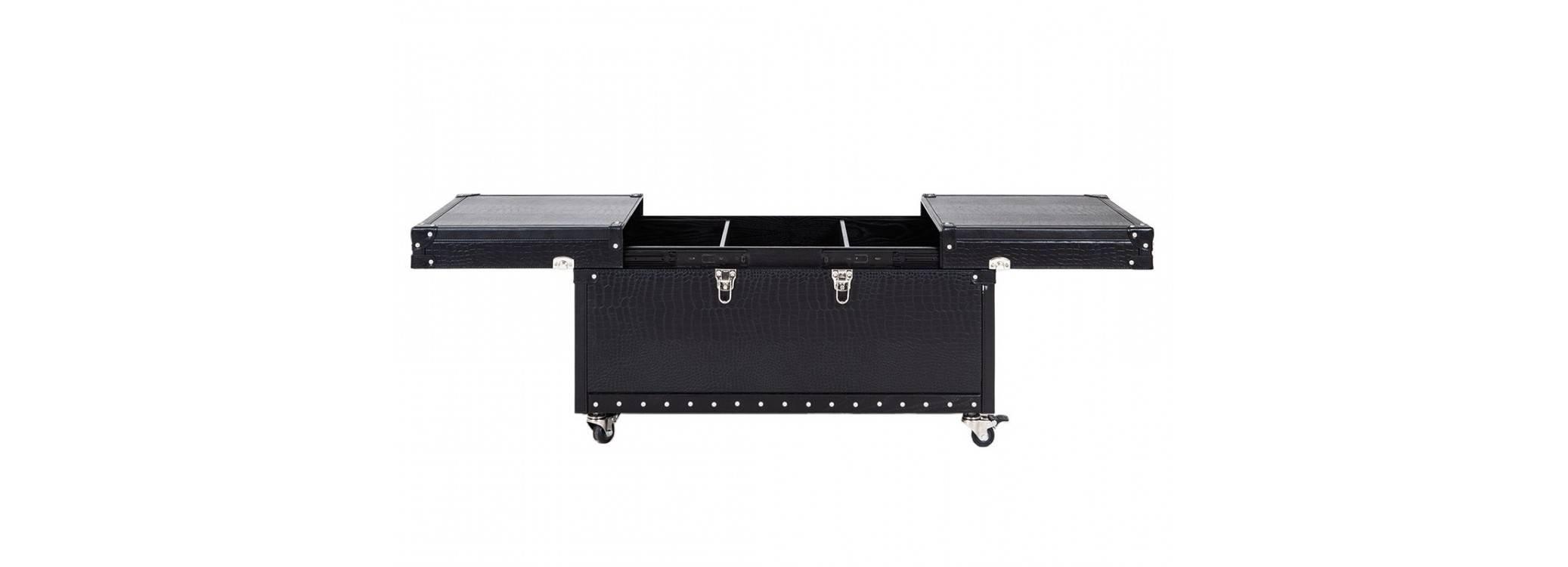 Table basse coffre de rangement Cap Horn petit modèle - Noir façon croco