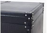 Table basse Cap Horn avec ouverture coulissante - Façon croco marron foncé