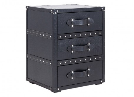 Chevet Cap Horn 3 tiroirs - Façon croco noir