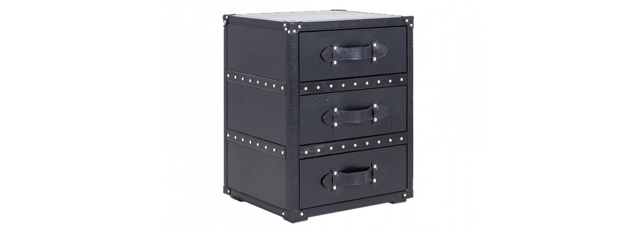 Bout de canapé Cap Horn 3 tiroirs - Noir façon croco