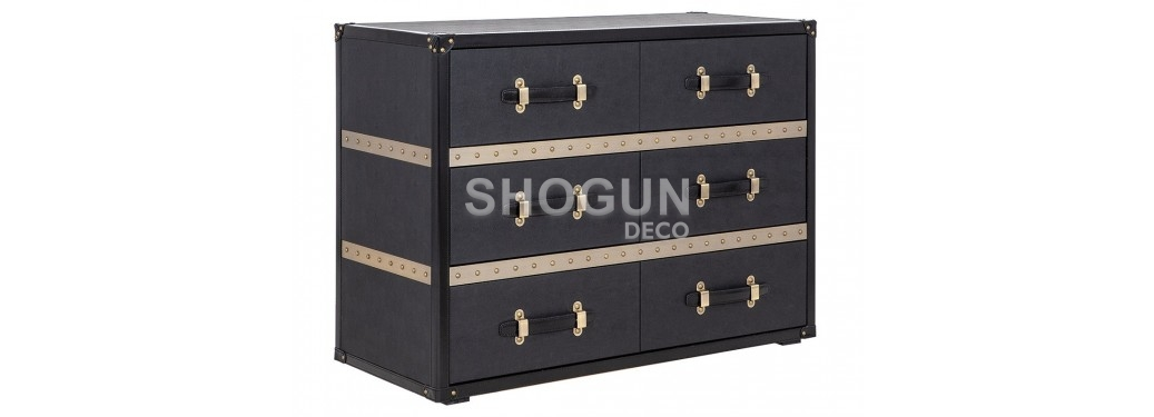 Chest of drawers Cap Horn 6 drawers - Black in shagreen