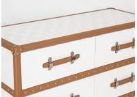 Commode Cap Horn 6 tiroirs - Blanc façon croco