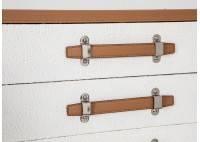 Commode Cap Horn 5 tiroirs - Blanc façon croco