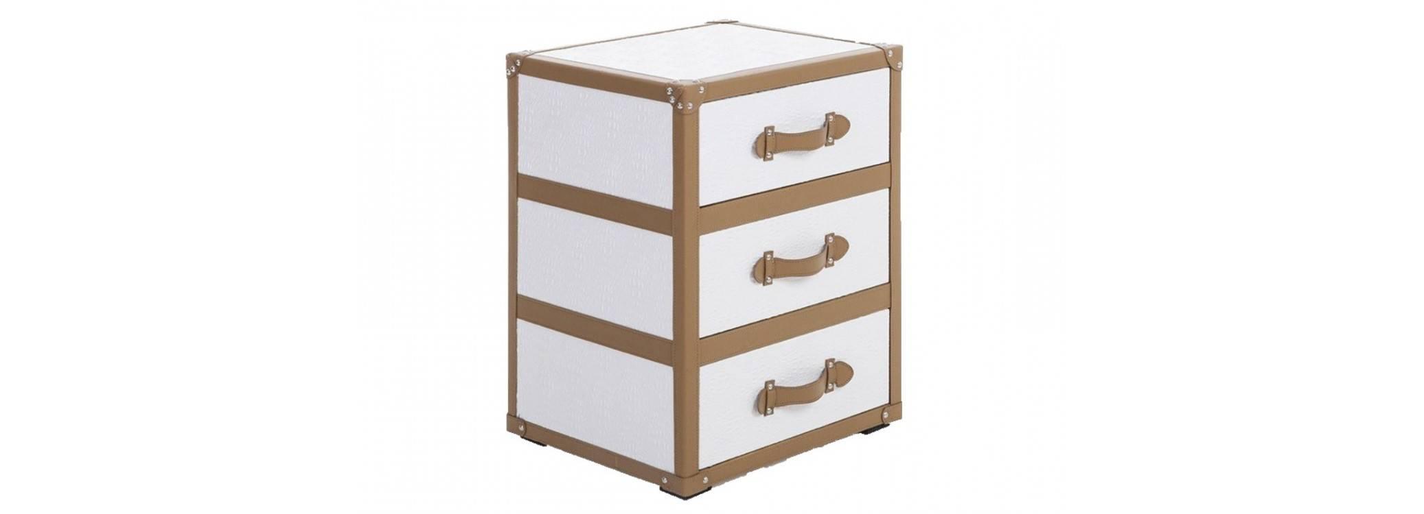 Bout de canapé Cap Horn 3 tiroirs - Blanc façon croco