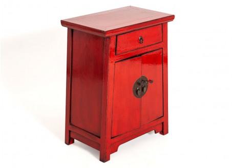 Meuble d'appoint Chinois - 2 portes 1 tiroir - Rouge