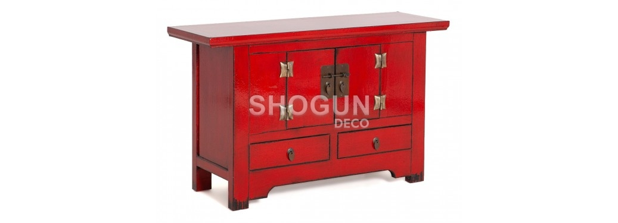 Buffet Chinois - 2 tiroirs - Rouge