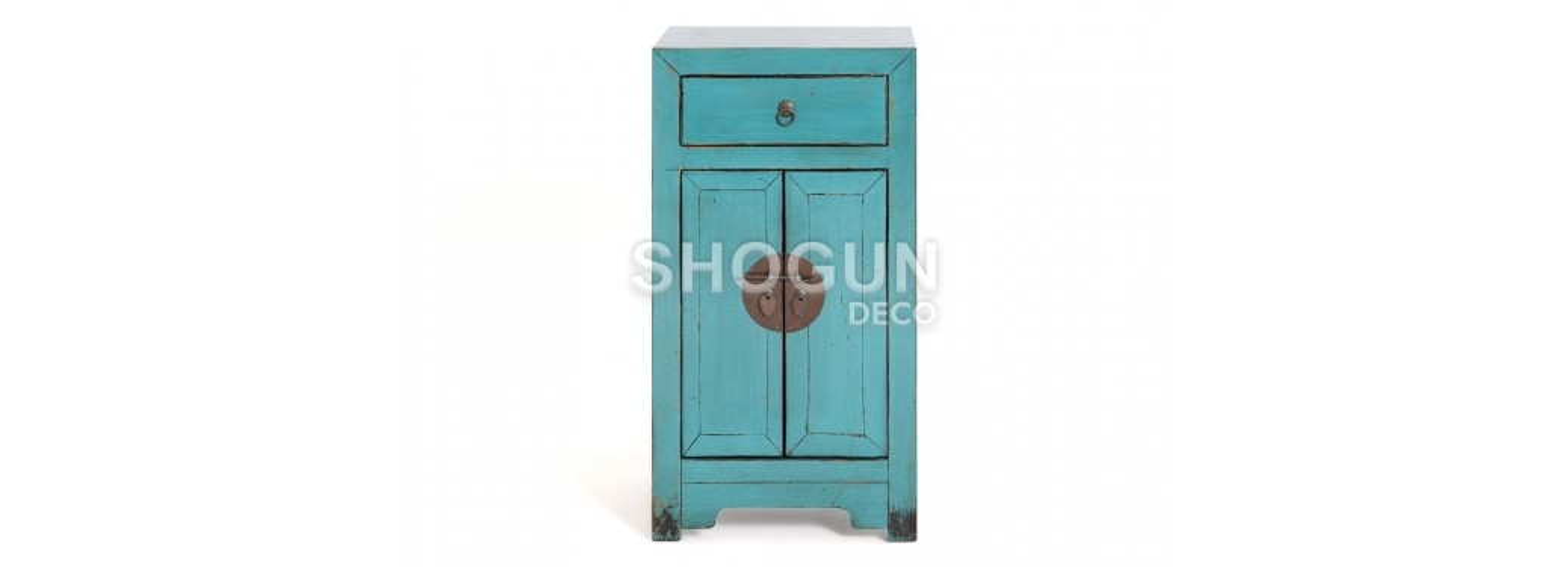 Meuble d'appoint Chinois - 2 portes 1 tiroirs - Bleu lagon