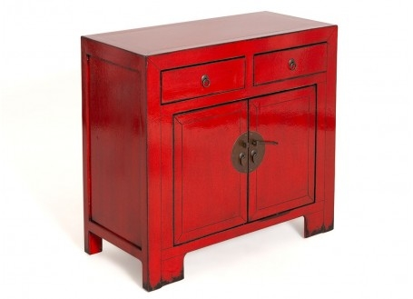 Buffet Chinois - 2 portes 2 tiroirs - Rouge vif