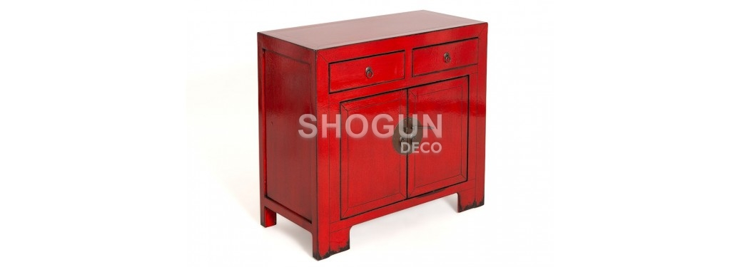 Buffet Chinois - 2 portes 2 tiroirs - Rouge vif