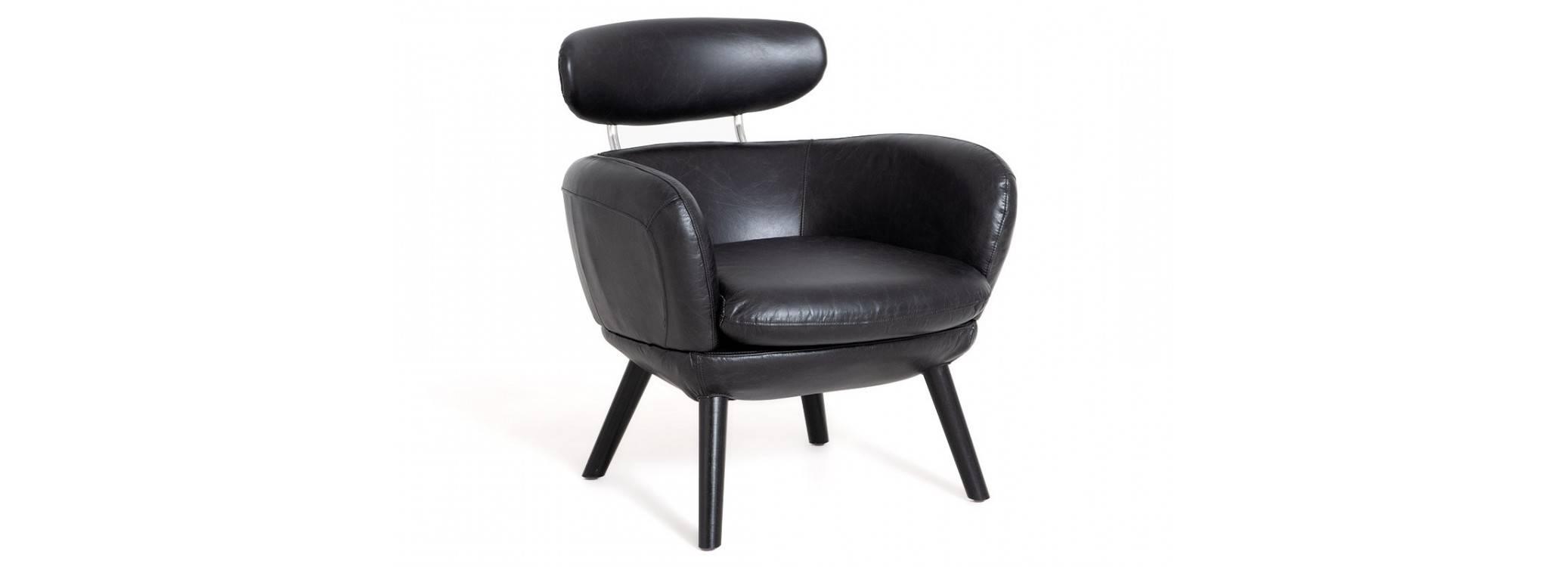 Fauteuil Rubis - cuir noir
