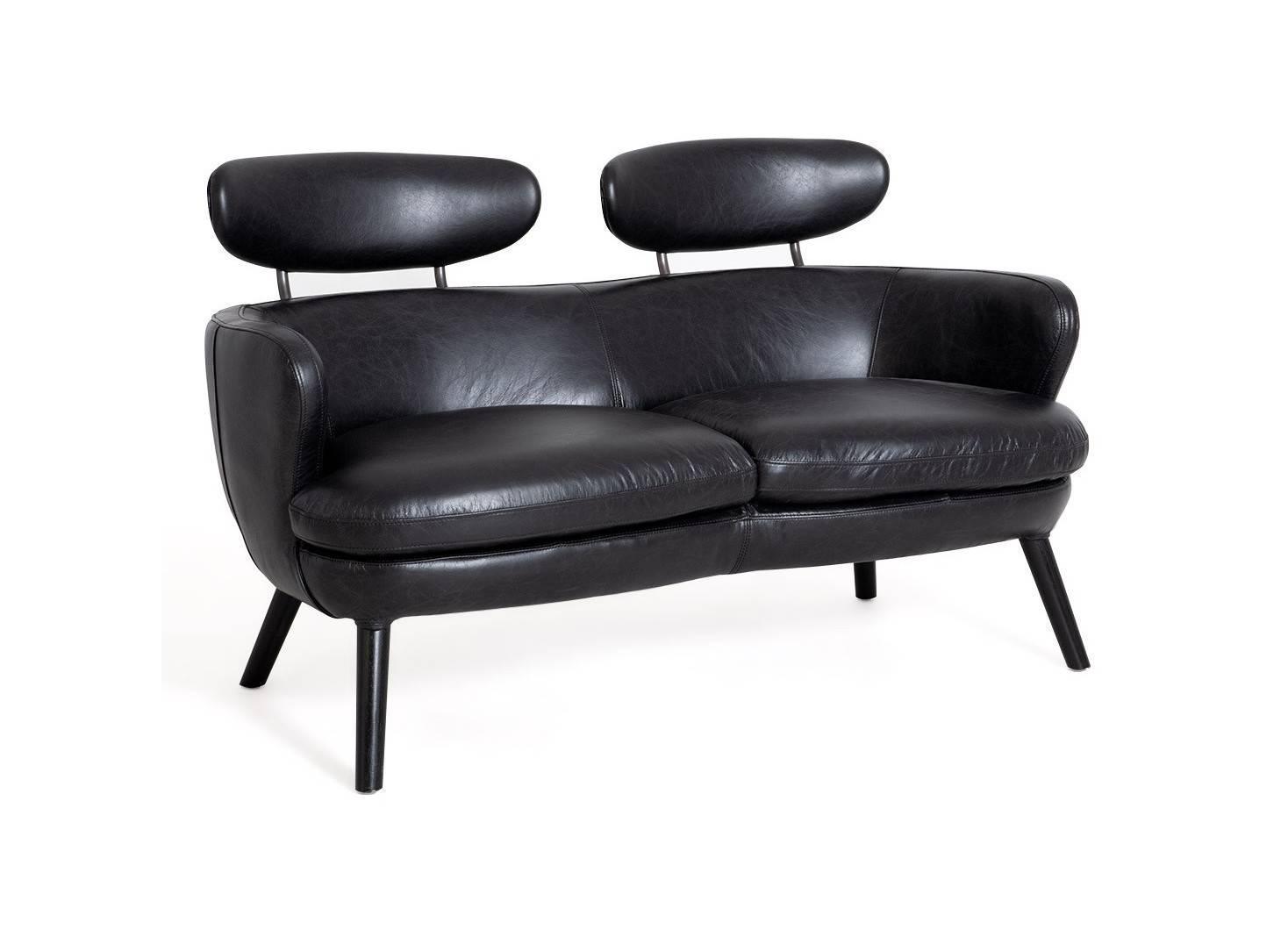 Canapé club Rubis - 2 places - cuir noir