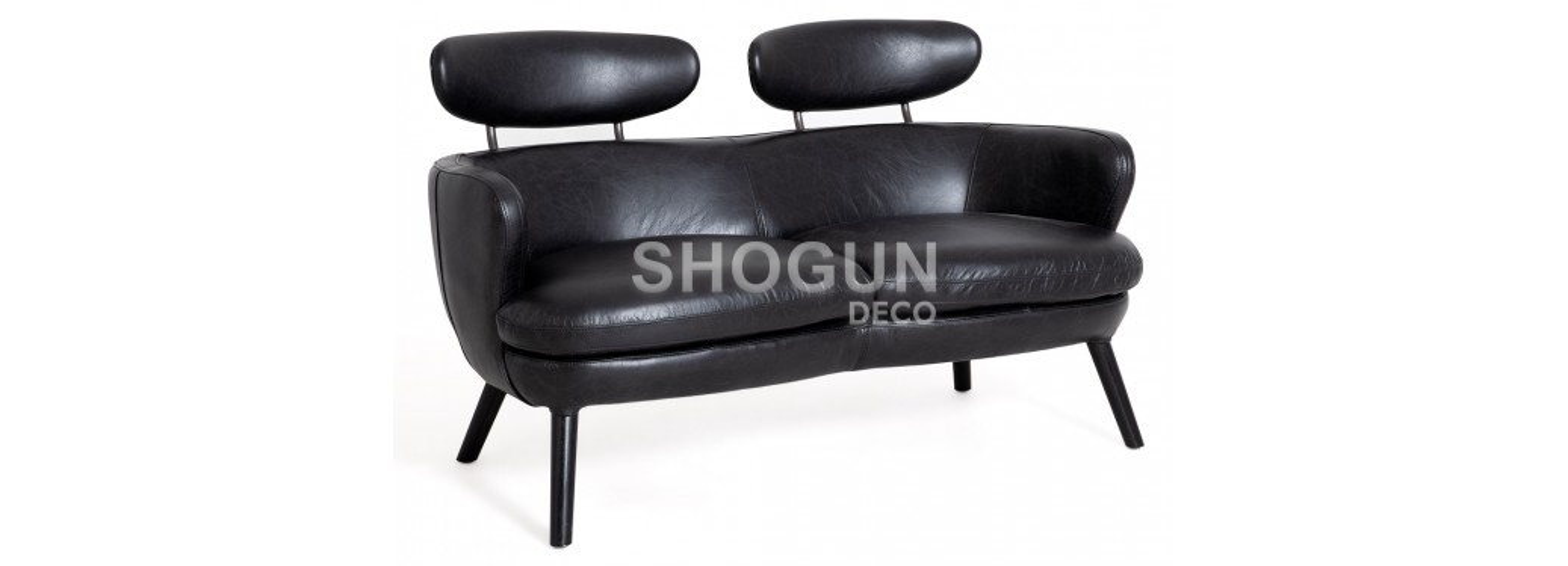 Sofa Rubis - 2 seater - black leather