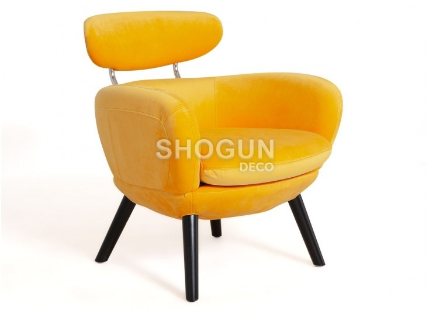 Fauteuil club Rubis - velours jaune orangé