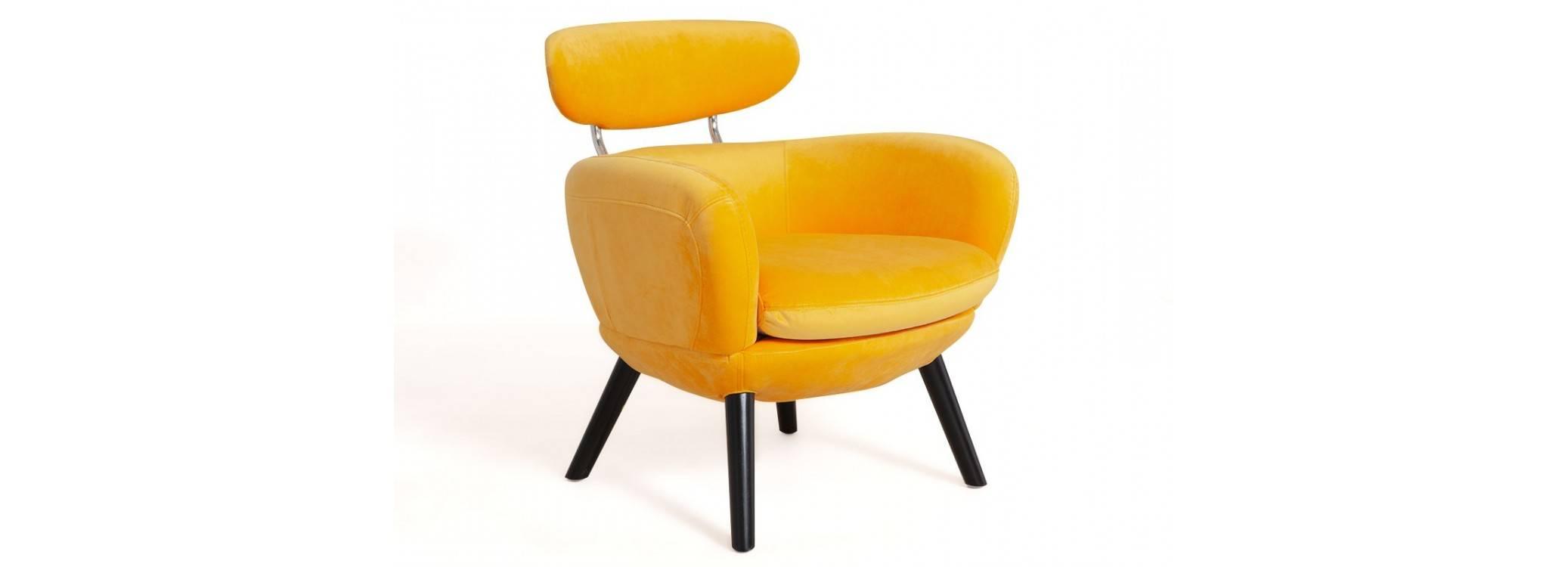 Fauteuil Rubis - velours jaune orangé