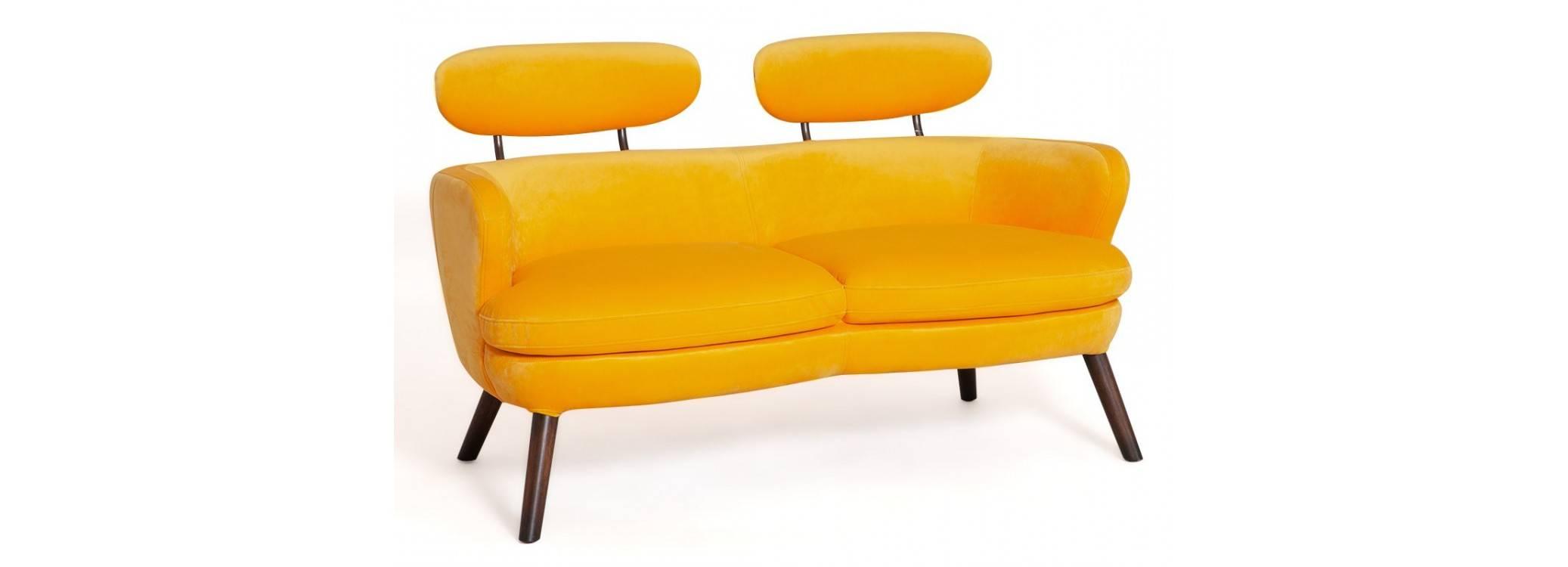 Canapé Rubis - 2 places - velours jaune orangé