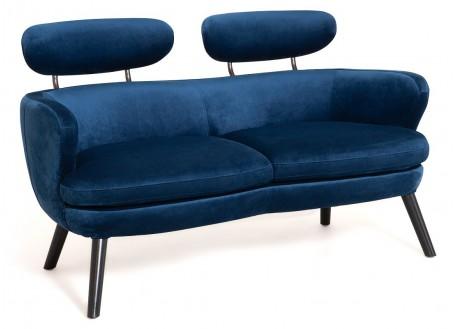 Canapé Rubis - 2 places - velours bleu nuit