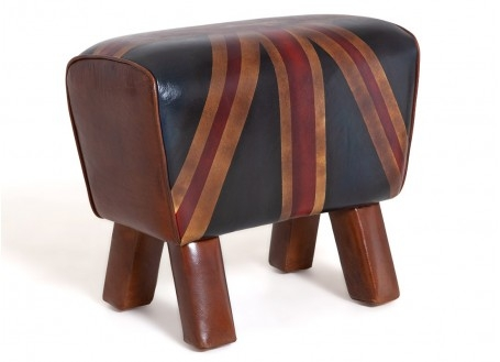 Banc cheval d'arçon en cuir Columbia Brown