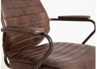 Fauteuil de bureau Hoover pivotant - Cuir noir et métal