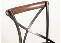 Chaise Eiffel métal avec assise en cuir noir et dossier en bois