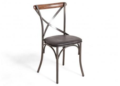 Chaise bistrot Eiffel - cuir noir