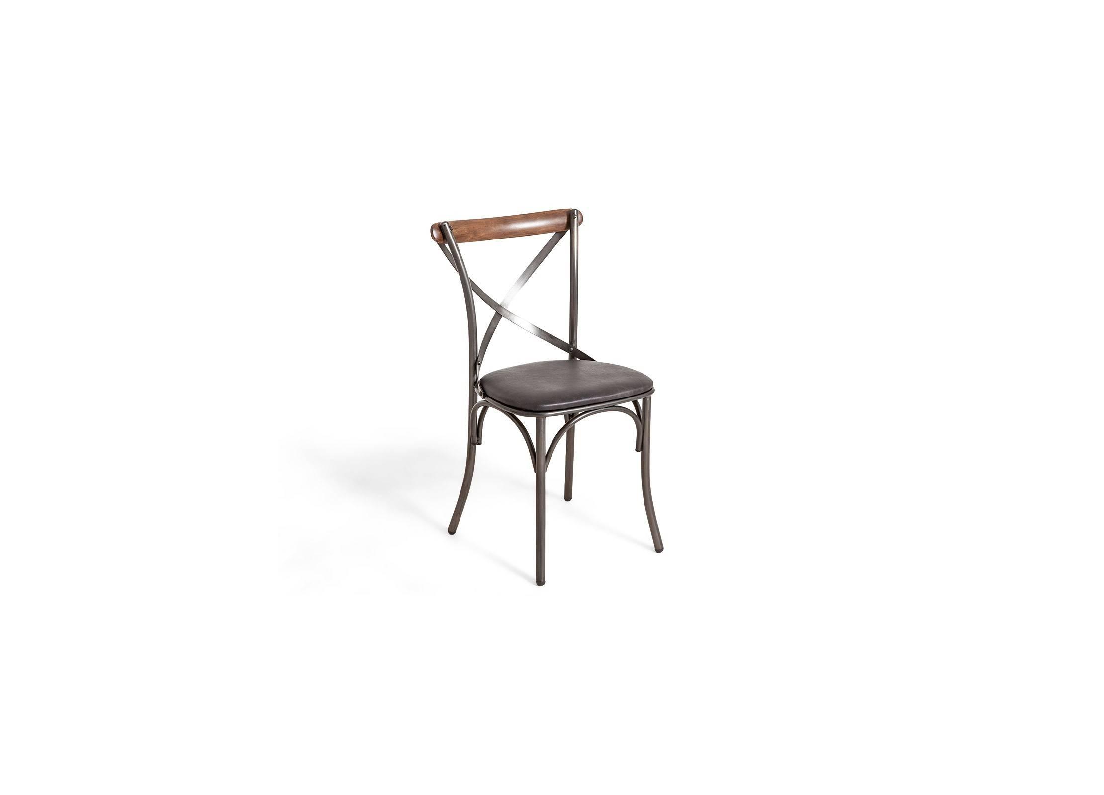 Chaise Eiffel métal avec assise en cuir noir