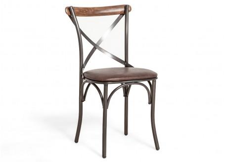 Chaise bistrot Eiffel - cuir marron