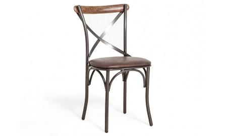 Chaise Eiffel - Assise cuir noir et dossier bois