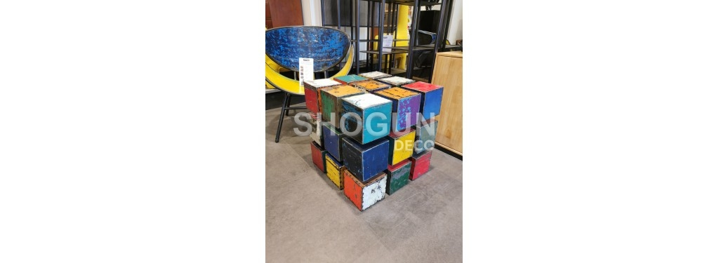 Coffee table Rubic's Cube en bidon recyclé made in recycled oil can - arts & crafts