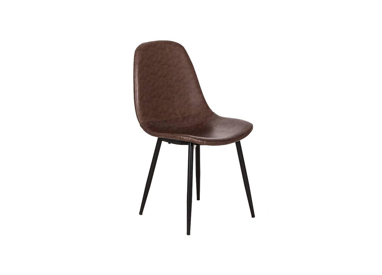 Chaise en simili cuir marron
