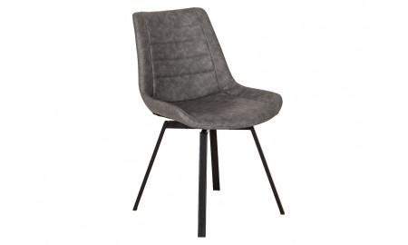 Chaise pivotante en simili cuir gris