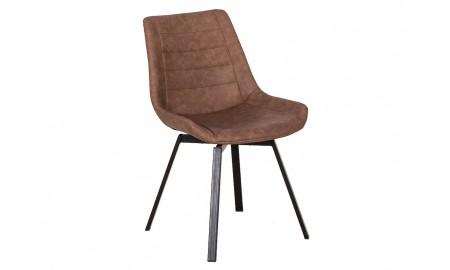 Chaise pivotante en simili marron