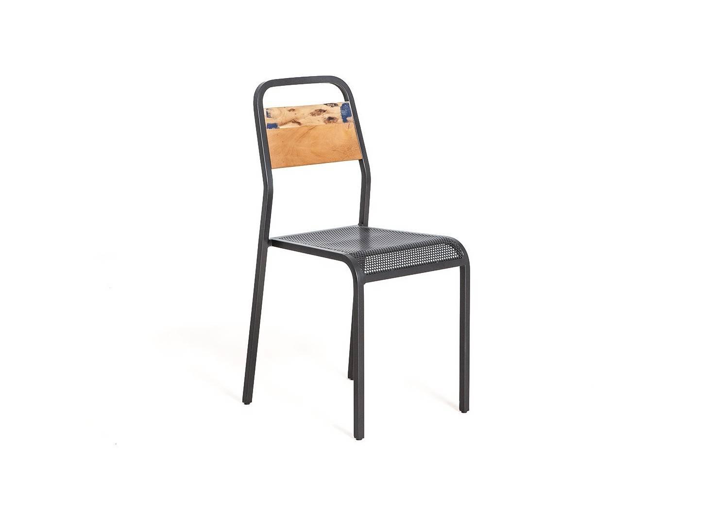 Chaise Sixties - Finition noire - Métal et assise bois