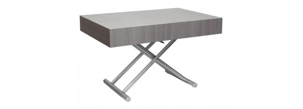 Table basse extensible relevable - Gris pierre/marbre