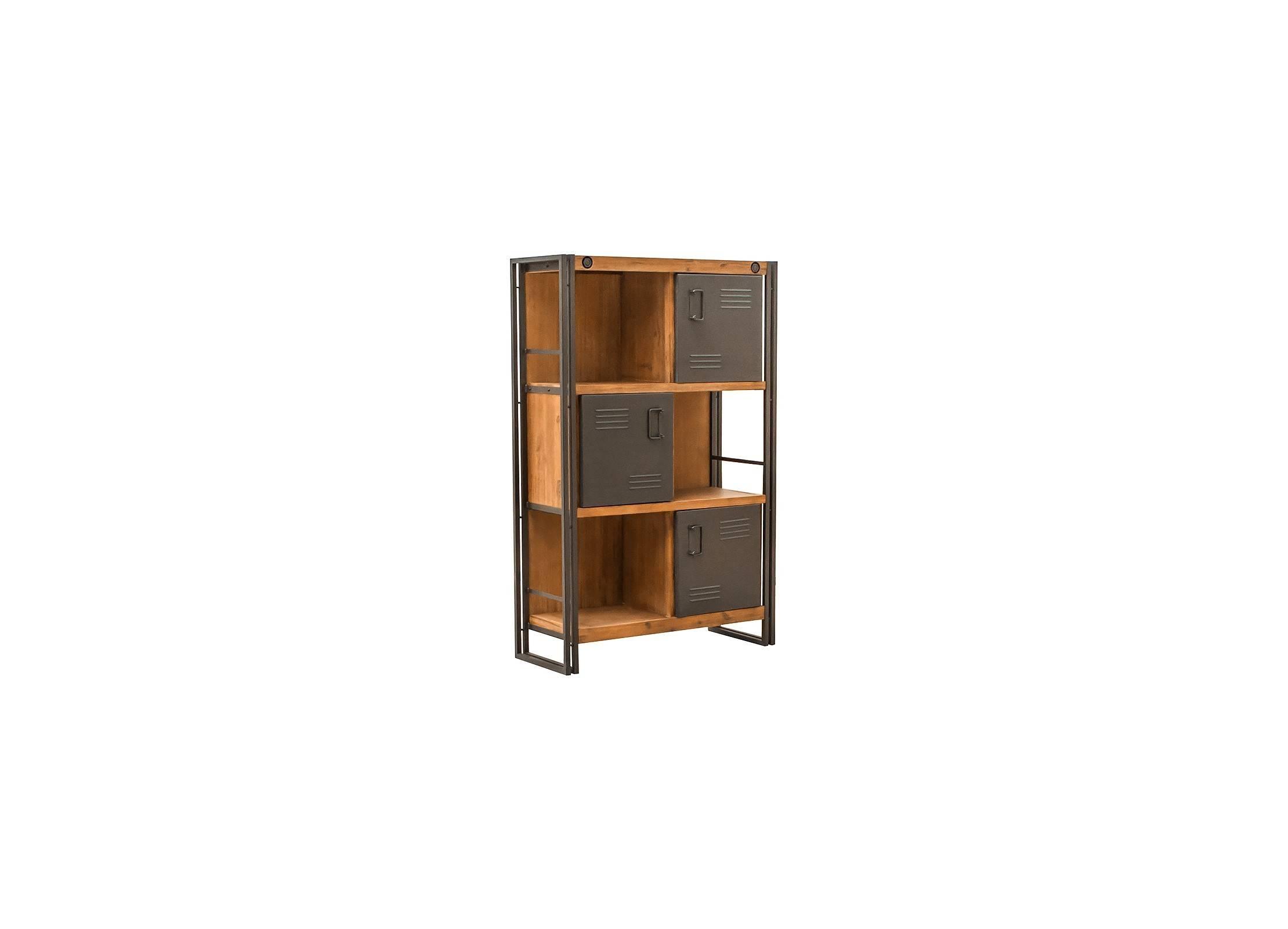 biblioth que indus 2 tiroirs et 3 niches bois massif et m tal. Black Bedroom Furniture Sets. Home Design Ideas