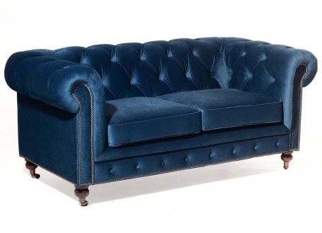 Canapé Chesterfield en velours bleu nuit - 1m80 / 2 places