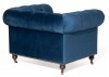 Canapé Chesterfield en velours bleu nuit - 2m21 / 3 places
