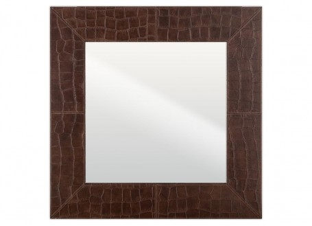 Miroir carré Nairobi - cuir marron façon croco