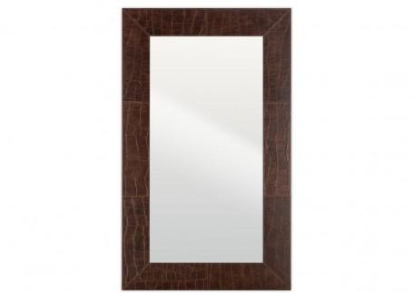Miroir rectangulaire Nairobi - cuir marron façon croco