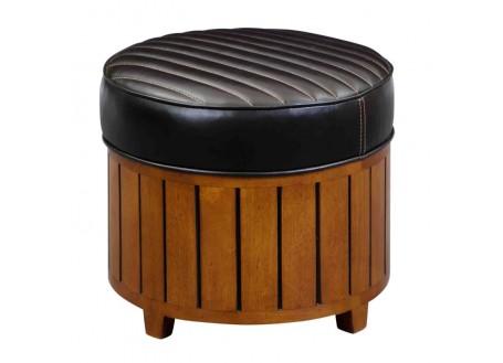 Canoë round footstool - dark brown leather