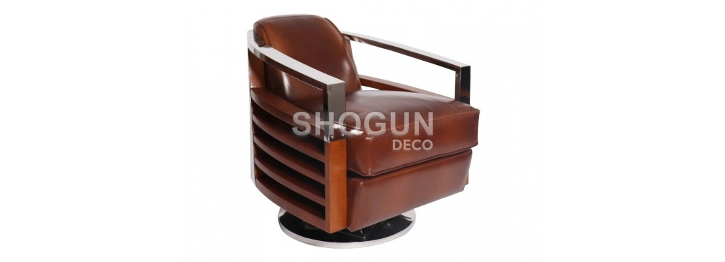 Madison swivel armchair - Brown leather