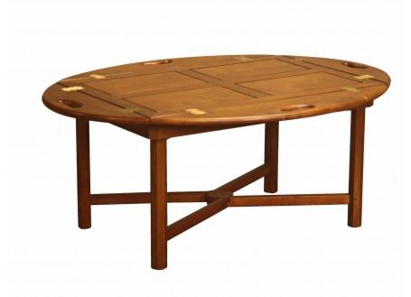 Table basse ovale relevable - finition noyer
