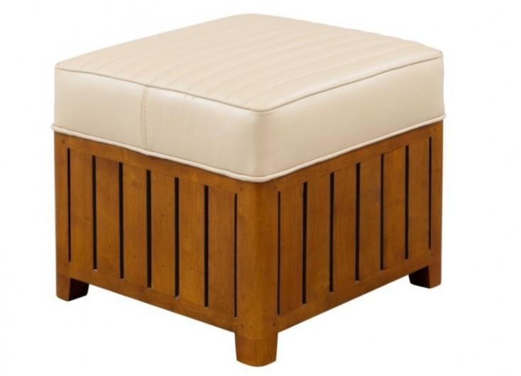 Pouf carré Canoë - cuir beige