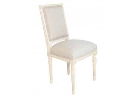 Chaise garnie Louis XVI, blanc antique
