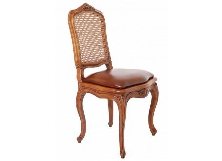 Chaise cannée et cuir - Larroque