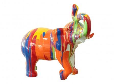 Statue éléphant multicolore en résine