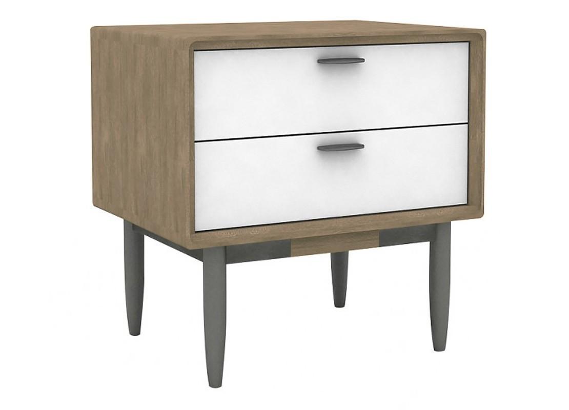 chevet meuble d appoint blanc alba 2 tiroirs bois massif acacia. Black Bedroom Furniture Sets. Home Design Ideas