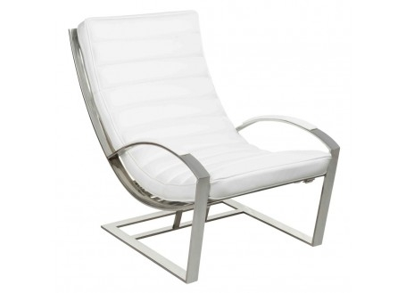 Fauteuil relax Madrid - Cuir blanc