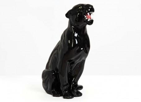 Statue panthère noire en céramique