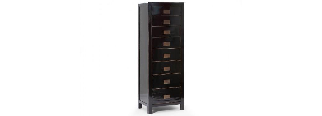 Chiffonnier Chinois - 8 tiroirs - Noir
